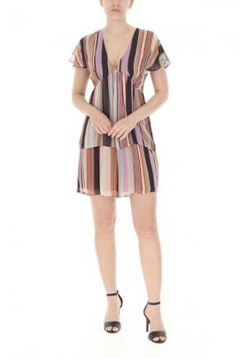 LIU JO Dress with striped patterned flounces - MULTICOLOR
