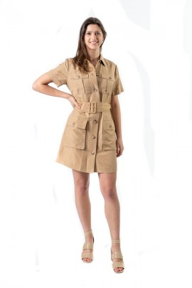 LIU JO Linen dress with belt - BEIGE