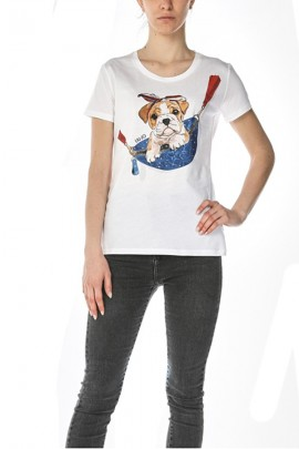 LIU JO Dog and rhinestone print t-shirt