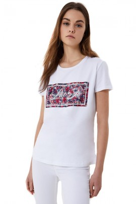 LIU JO Logo print t-shirt with studs and rhinestones