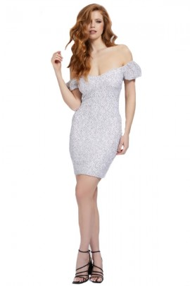 GUESS Super skinny micropois dress - WHITE