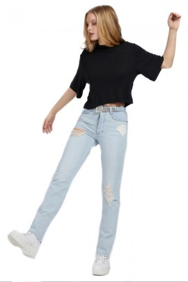 GUESS Short ripped jeans and rhinestone belt