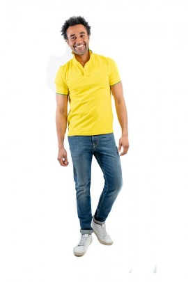 SUN 68 Basic polo shirt with contrasting piping - YELLOW