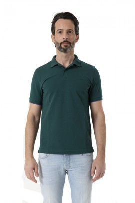 SUN 68 Basic polo shirt with contrasting piping - VERDE SCURO