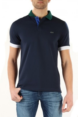 SUN 68 Polo with contrasts - BLUE