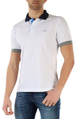 SUN 68 Polo with contrasts - WHITE