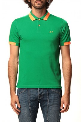 SUN 68 Fluorescent orange contrast polo shirt