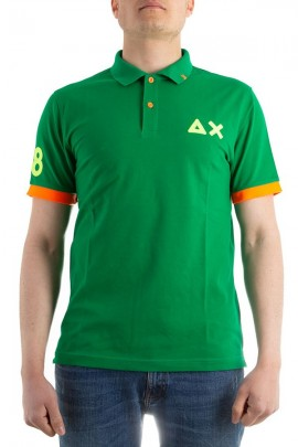 SUN 68 Polo with fluo contrasts - VERDE
