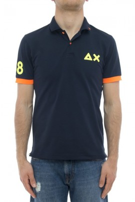 SUN 68 Polo with fluo contrasts - BLUE