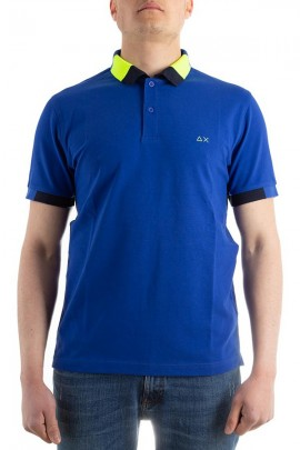 SUN 68 Two-tone fluorescent contrast polo shirt