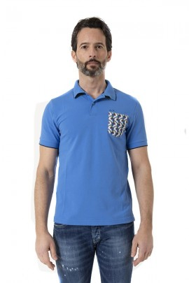 SUN 68 Polo shirt with patterned pocket - TURCHESE