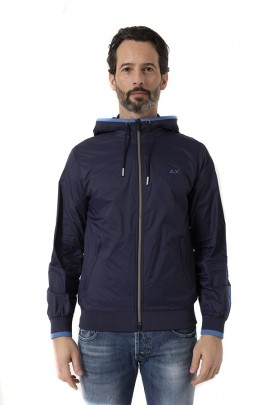 SUN 68 Men's jacket with hood - BLUE