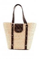 GUESS Wicker and eco-leather bag with logo