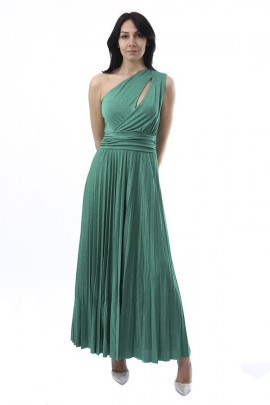 KAOS Long laminated one-shoulder dress and plisset
