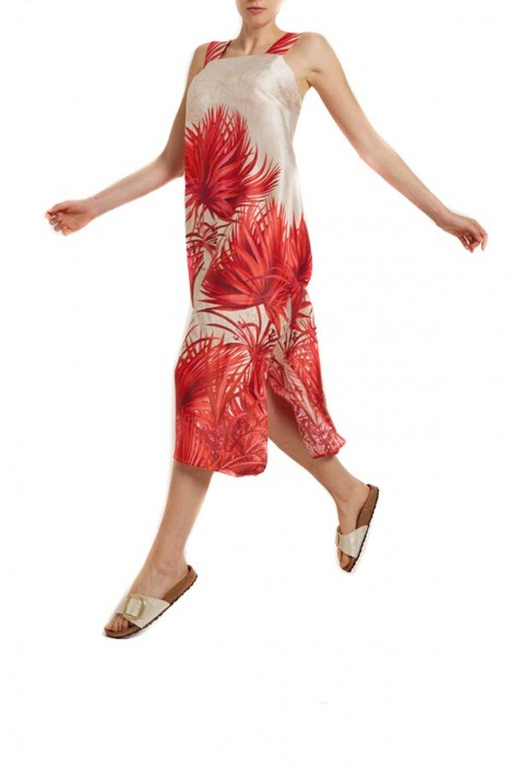 KAOS Long tropical print tank top dress
