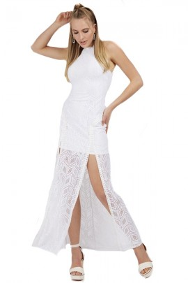 GUESS Long dress in openwork lace - WHITE