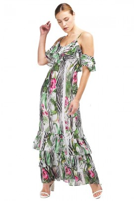 GUESS Long floral dress with flounces - WHITE