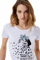 LIU JO T-shirt with stras and dog print