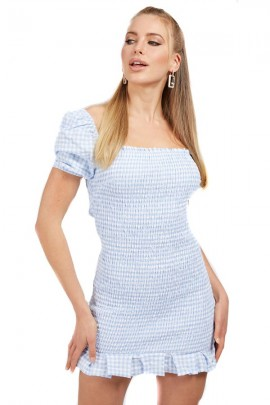 GUESS Short check pattern dress - LIGHT BLUE