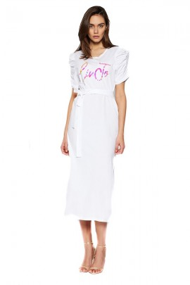 LIU JO Jersey dress with gold logo - WHITE