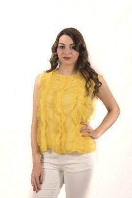 FRACOMINA Sleeveless blouse with ruffles and lace