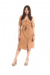 KOCCA Dress with buttons and sleeve turn