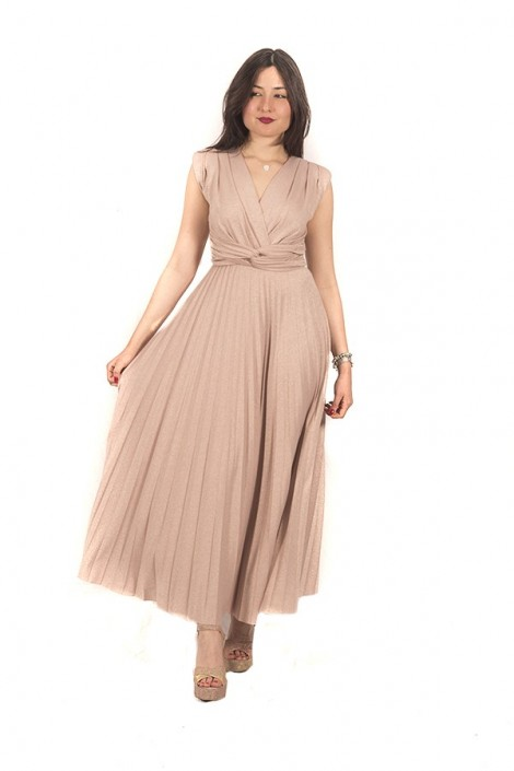 KAOS Long dress in laminated fabric and pleated skirt