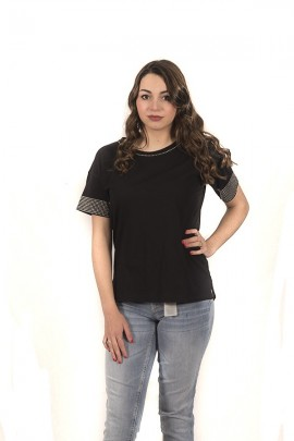 KAOS Blouse with gieocollo studs and short sleeves