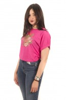 GUESS T-shirt with flowers and rhinestones logo