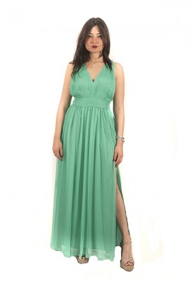 KOCCA Long dress with low-cut bodice and pleats