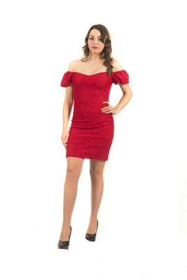 GUESS Super skinny micropois dress - ROSSO