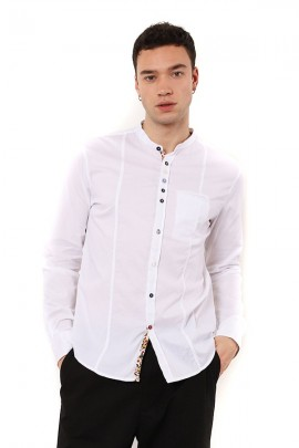IMPERIAL Korean shirt with patterned buttons - WHITE