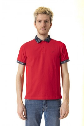 SUN 68 Polo shirt with patterned collar and sleeves