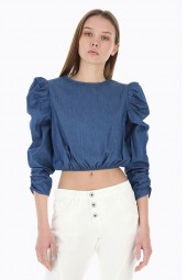 PLEASE Denim blouse and sleeves with curl