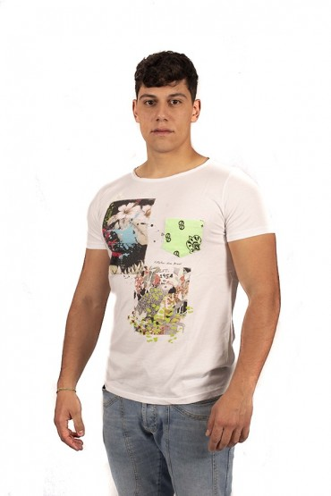 FIFTY FOUR T-shirt with pocket and fantasy print