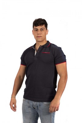 FRED MELLO Poloshirt mit roter Paspelierung