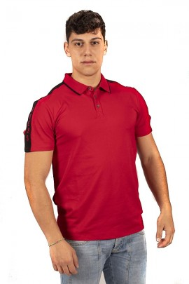 Polo GUESS avec col contrastant - ROSSO