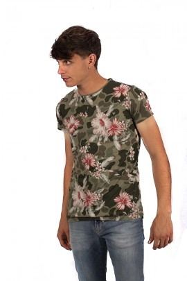 FIFTY FOUR T-shirt stampa fiori - VERDE