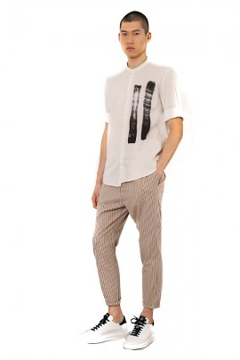 IMPERIAL Striped trousers with drawstring