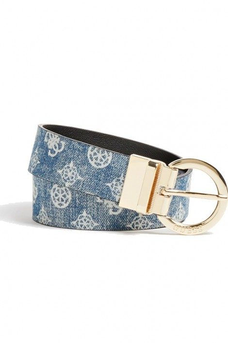 GUESS Belt with logo and gold buckle