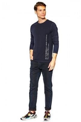 GUESS Camiseta de manga larga con escritura lateral - BLU