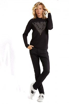 GUESS Camiseta de manga larga con estampado frontal - ROSSO