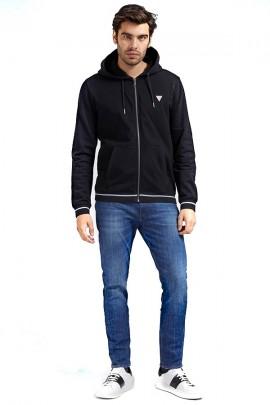 GUESS Sweatshirt with zip and hood - BLACK