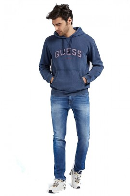 GUESS Closed sweatshirt with hood and front logo - BLUETTE