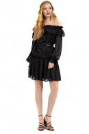 GUESS Dress with flounces and micropois