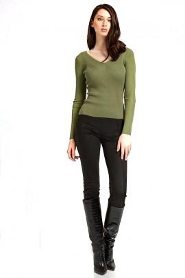 GUESS V-neck viscose sweater - VERDE