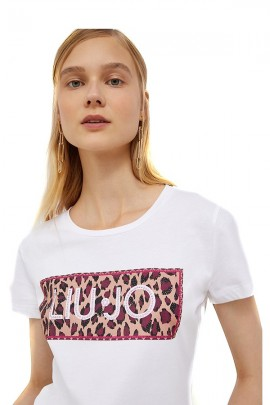 LIU JO T-shirt with flowers logo