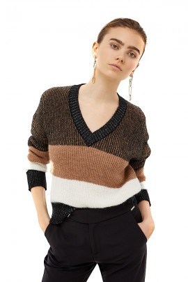 LIU JO Striped sweater and wide v-neck