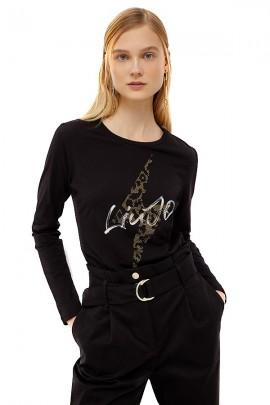 LIU JO Camiseta de manga larga con logo de rayo stras - NERO