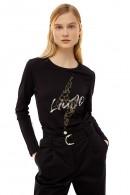 LIU JO Long sleeve t-shirt with lightning stras logo